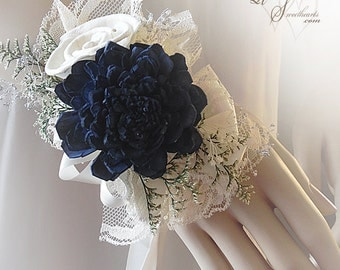 Ships in 5 days ~~~ Navy Blue Sola Flower Corsage, Can be worn as a Wrist Corsage or Pin On Corsage.