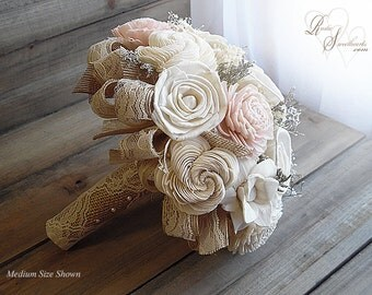 Ships in 4 weeks ~~~~ Rustic Blush Pink Wedding Bouquet, Sola Flowers, Burlap, Lace. Available in sm., medium or large.