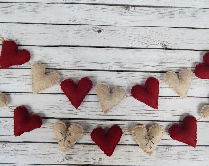 Christmas Heart Felt Garland Rustic Winter