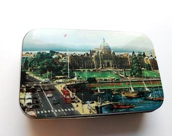 Vintage Victoria British Columbia Candy Tin, Hinged Lid, Souvenir Tin, Canada memorabilia, tea tin, postcard tin