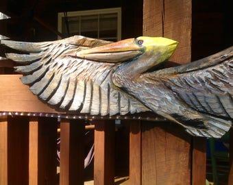 Brown  Pelican 5ft. chainsaw pelican carving flying wild shore bird wooden sculpture seaside beach cottage home decor centerpiece art