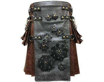 Interchangeable Worn Brown Leather Kilt with Grey Leather Front Panel Black Gears Double Cross Pocket Tops Antique Brass Metals Conchos
