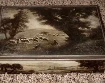 1920s Uneeda Biscuit Tin - Pastoral Scene - Vintage Tin Box