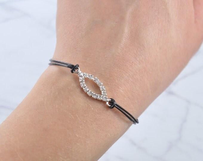 Evil Eye Bracelet, cz Rhinestone Pave Eye Bracelet, leather bracelet, best friend gift, minimalist jewelry, best friend bracelet