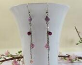 Enamel Heart and Swarovski Rose Tendril Earrings, Sterling Enameled Pink Hearts, 925 silver & Swarovski Crystal Elements Dainty Earrings