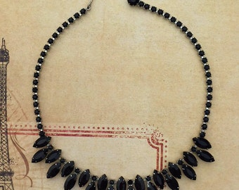 Vintage Weiss Necklace ... Black Faceted Glass