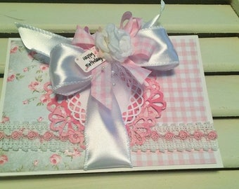 Birthday Card, Shabby Card, Greeting Card,Handmade Card, Embellished Card, OOAK