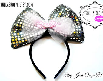 Black/Silver 80's Barbie Tulle Sequin Bow Headband