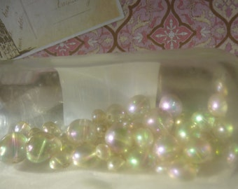 Vintage Beads 54 Iridescent Pearl-like Beads Translucent Various Sizes