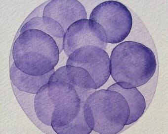 Purple Morula  - original watercolor - cell biology
