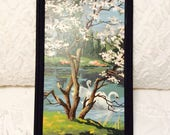 Vintage Paint by Number Picture Lake Scene Swans Blue Black Frame 1960s