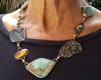 Elegant Rare Peruvian Blue Opal Reticulated Sterling Citrine and Carnelian Statement Necklace Gold spacers