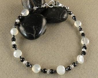 SALE! Mental Stability, Inspiration & Appreciation Bracelet with Mystic Chalcedony, Black Spinel and Hematite (2710)