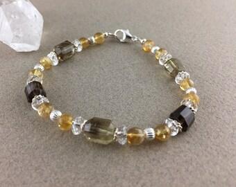 SALE! Energy Enhancement, Clarity & Happiness Bracelet with Citrine, Lemon Quartz and Clear Quartz (2431)