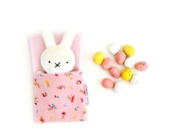 Mini Bun with sleeping bag, cute bunny softie, tiny bunny, white bunny, rabbit doll, soft bunny, kawaii bunny, cute bunny rabbit, bunny doll
