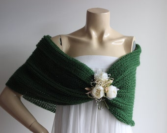 Dark  Green Cape/Forest Green Bridal Cape Wedding Wrap Shrug Bolero/Hand Knit Mohair Cape with Flower Pin
