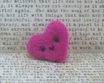 Needle Felted PInk Heart Brooch Pin