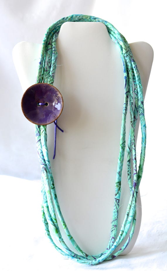 Summer Statement Necklace, Aqua Infinity Necklace, TQ120 Handmade Wrap Fiber Jewelry, Turquoise Skinny Multi Strand Necklace