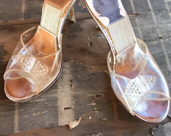 1950's Lucite Rhinestone Cinderella Princess Shoes Pumps Open Toe Slip On