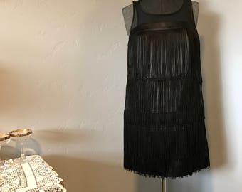 1920's Inspired Black Fringe Flapper Dress Sheer Neckline