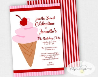 Ice Cream Cone Invitations | Cherry on Top | Ice Cream Birthday | Instant Download TEMPLATE | Editable Text PDF