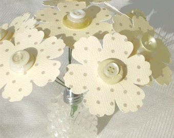 tiny salt shaker paper flower bouquet with vintage buttons and cardstock daisies country farmhouse decor