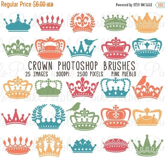 HALLOWEEN SALE Crown Photoshop Brushes, Crown Silhouettes Photoshop Brushes - Commercial and Personal Use