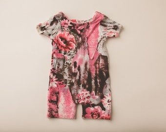 Abstract Rose and Brown Romper- Newborn Photography Romper Set