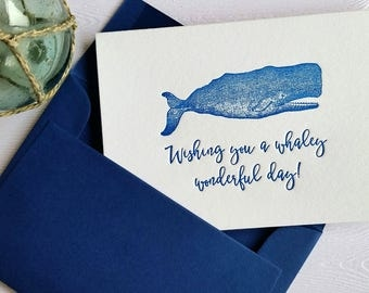 Whale Letterpress Stationery Greeting Cards Navy Blue