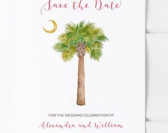 South Carolina Wedding Save the Date with Watercolor Palmetto Moon, Charleston Wedding, Kiawah, Hilton Head, Myrtle Beach,  Isle of Palms