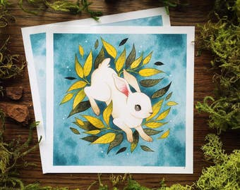 Watercolor Rabbit in Foliage Botanical Print by Michelle Kent