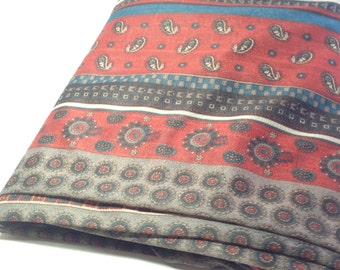 Sheer Mystery Fabric, 70's Look Paisley Sewing Material, Sewing Supplies, 1 yd Knit Fabric