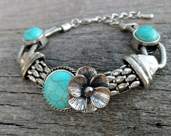 Flower Bracelet, Faux Turquoise, Silver,Gypsy,Chunky Jewelry, Women, Ladies, Heavy Weight, Unique, Retro, Western, Cowgirl, Costume Jewelry