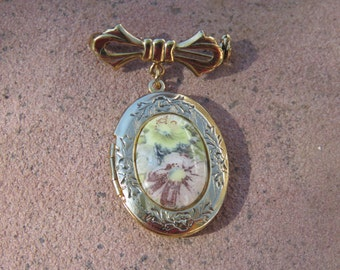 Stunning Vintage Estate Gold Tone Dangle Bow Locket Brooch, Flowers Pin, Mother's Day Jewelry
