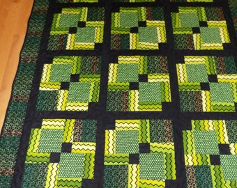 Green and Black Handmade Lap Quilt 60 x 78