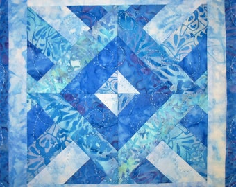 Batik Table Topper, Wall Hanging, Quilted, Handmade, Blues, Center Piece, Candle Mat