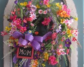 """Mothers Day Wreath, Spring Wreath, Summer Wreath, """"MOM"""" Chalkboard Tag, Mothers Day Gift, Front Door Wreath, Colorful Spring Wildflowers"""