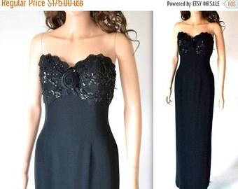 15% OFF SALE Vintage Black Evening Gown// Black Strapless Sequin Dress By Bizar// 90s Vintage Black Beaded Dress Size Medium