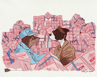 Illustrated Custom Pet Portrait - Grand Budapest Hotel - Mendl's Agatha and Zero Print Only or Matted and Ready to Frame 8x10 11x14 16x20
