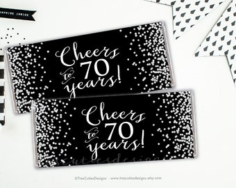 Candy Bar Wrapper - 70th birthday party - Cheers to 70 years - Black Silver Confetti - Printable