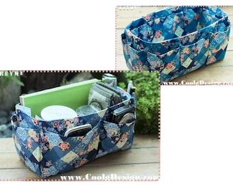 Large Purse ORGANIZER insert handmade gift Extra Sturdy Blue Floral