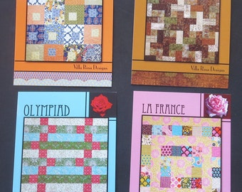 Four Villa Rosa Designs Quilt Patterns - La France, Iced Tea, Olympiad And Summer Song