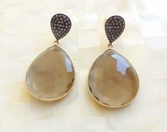 Faceted Smoky Quartz & White Topaz Pave Vermeil Bezel Pear Shaped Drop Dangle Post Earrings (E1271)