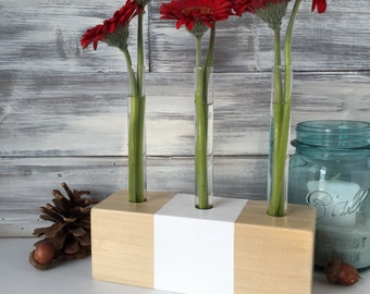 Test Tube Vase, flower vase, wood and white paint, small gift for her, simple centerpiece