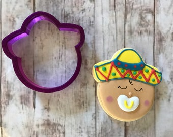 Baby with Sombrero Cookie Cutter and Fondant Cutter and Clay Cutter