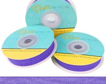 "Violet - Fold Over Elastic - Solid FOE - 5/8"" Wide - 5 Yards Wholesale"