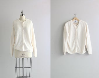Vintage Handknit Sweater . Winter White Womens Cardigan Sweater