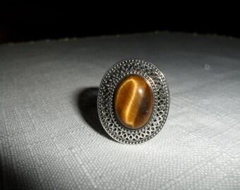 Vintage Sterling Silver Tiger Eye Ring Size 10