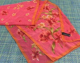 "Vintage Jones of New York Pink and Orange Spring Flowers Oblong  Scarf 13"" x 60""- oblong scarf, spring scarf, pink scarf, spring flowers"
