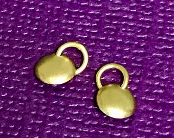 2 Teeny TINY Vermeil Gold Domed Circle Charms  - 4.75mm Circles Brushed Matte Satin Finish Stamping Blanks C202
